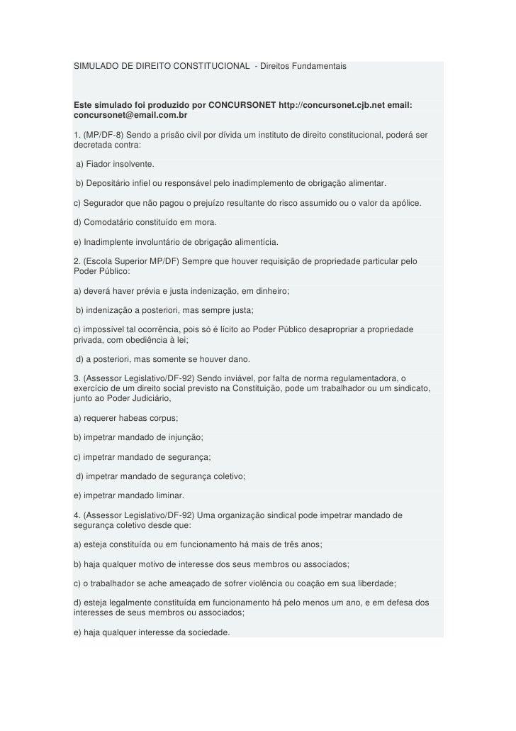 SIMULADO DE DIREITO CONSTITUCIONAL - Direitos FundamentaisEste simulado foi produzido por CONCURSONET http://concursonet.c...