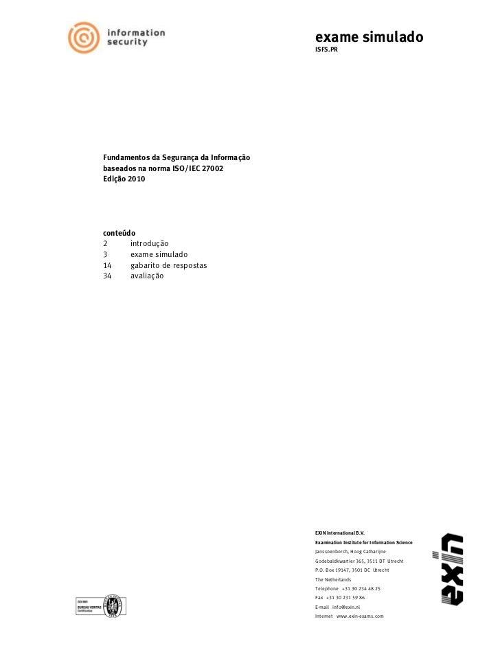 Simulado ISO 27002 exin 01 - Segurança da Informação