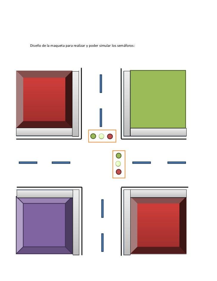 Diseño de la maqueta para realizar y poder simular los semáforos: