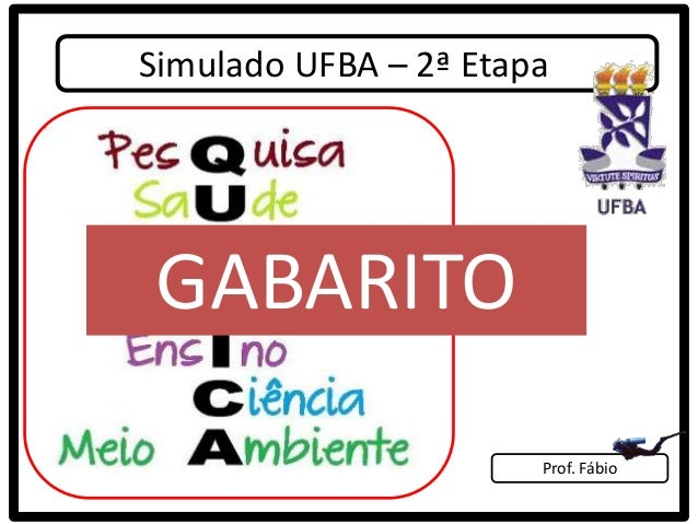 Simulado UFBA – 2ª EtapaGABARITO                       Prof. Fábio