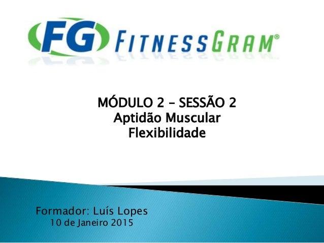 Formador: Luís Lopes 10 de Janeiro 2015 MÓDULO 2 – SESSÃO 2 Aptidão Muscular Flexibilidade