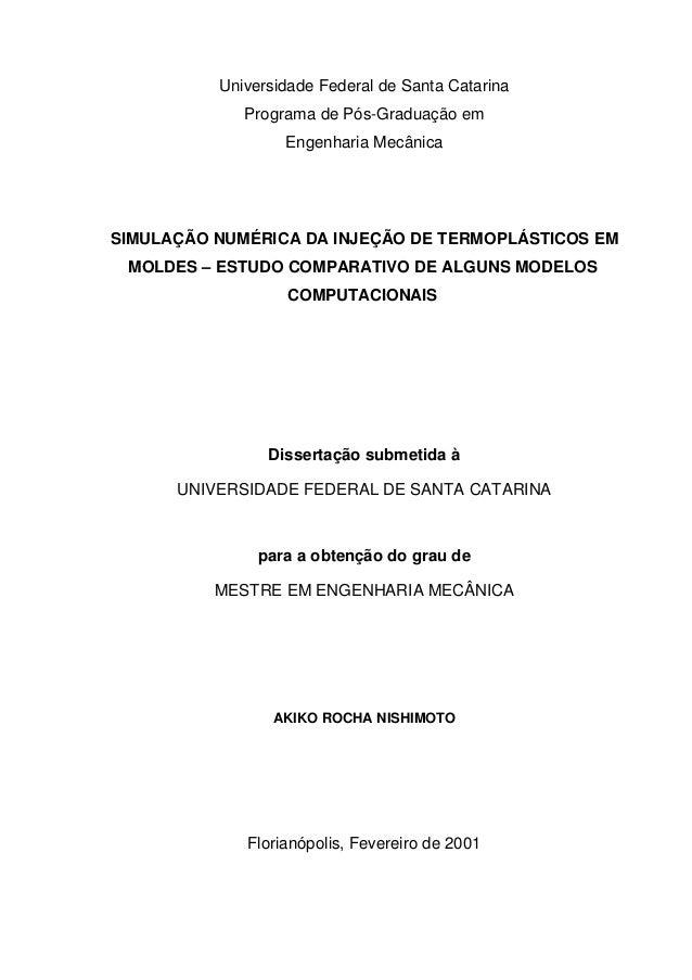 Universidade Federal de Santa Catarina Programa de Pós-Graduação em Engenharia Mecânica  SIMULAÇÃO NUMÉRICA DA INJEÇÃO DE ...