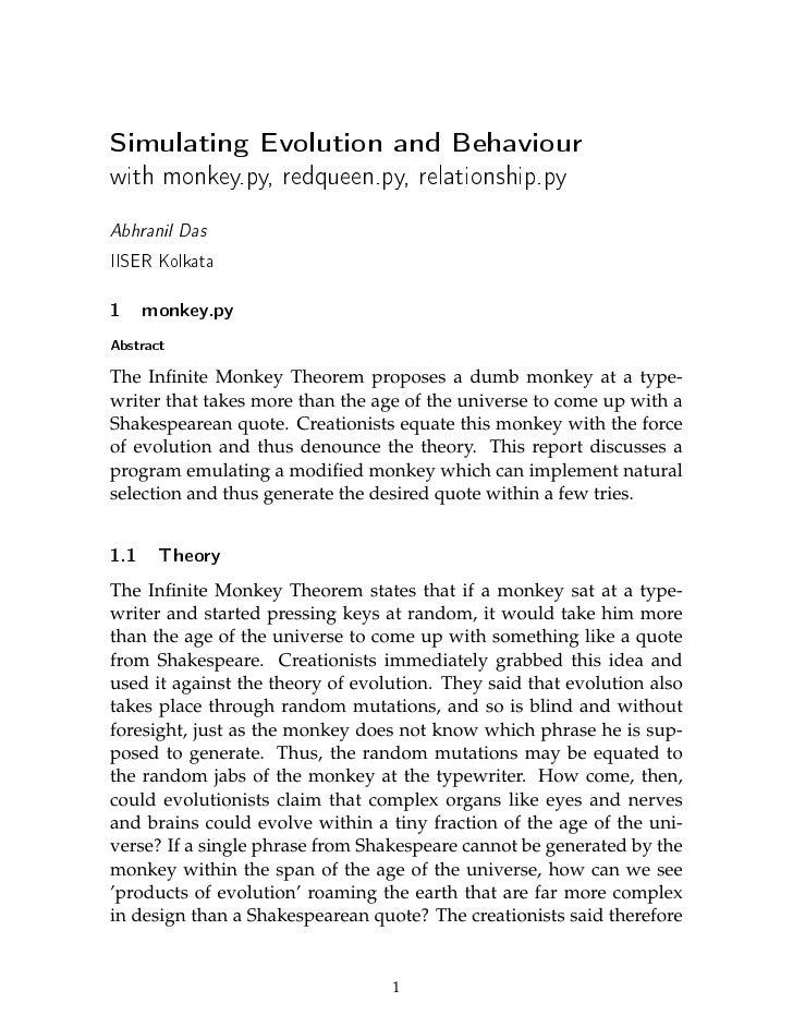 Simulating Evolution and Behaviourwith monkey.py, redqueen.py, relationship.pyAbhranil DasIISER Kolkata1     monkey.pyAbst...