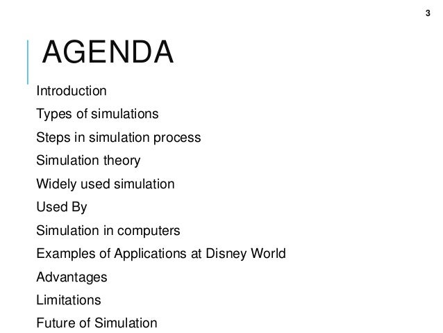 types of simulations In addition, to discussing the importance of using simulations in the classroom   for example key points concerning simulations include:  types of role playing.