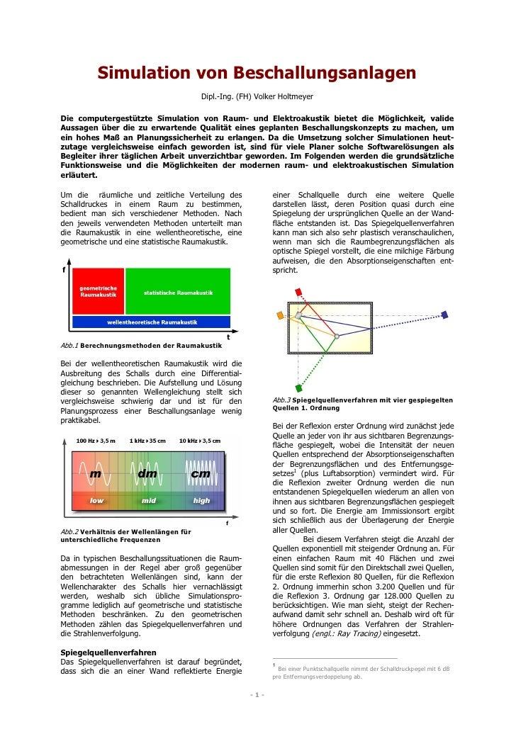 Simulation von Beschallungsanlagen                                         Dipl.-Ing. (FH) Volker Holtmeyer  Die computerg...