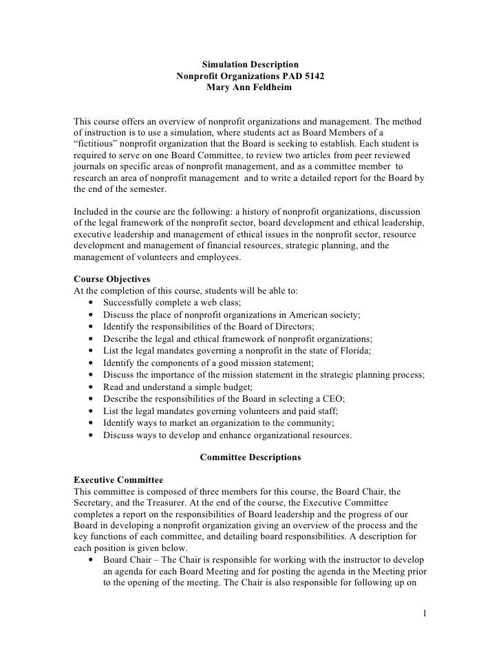 Simulation Description                          Nonprofit Organizations PAD 5142                                Mary Ann F...