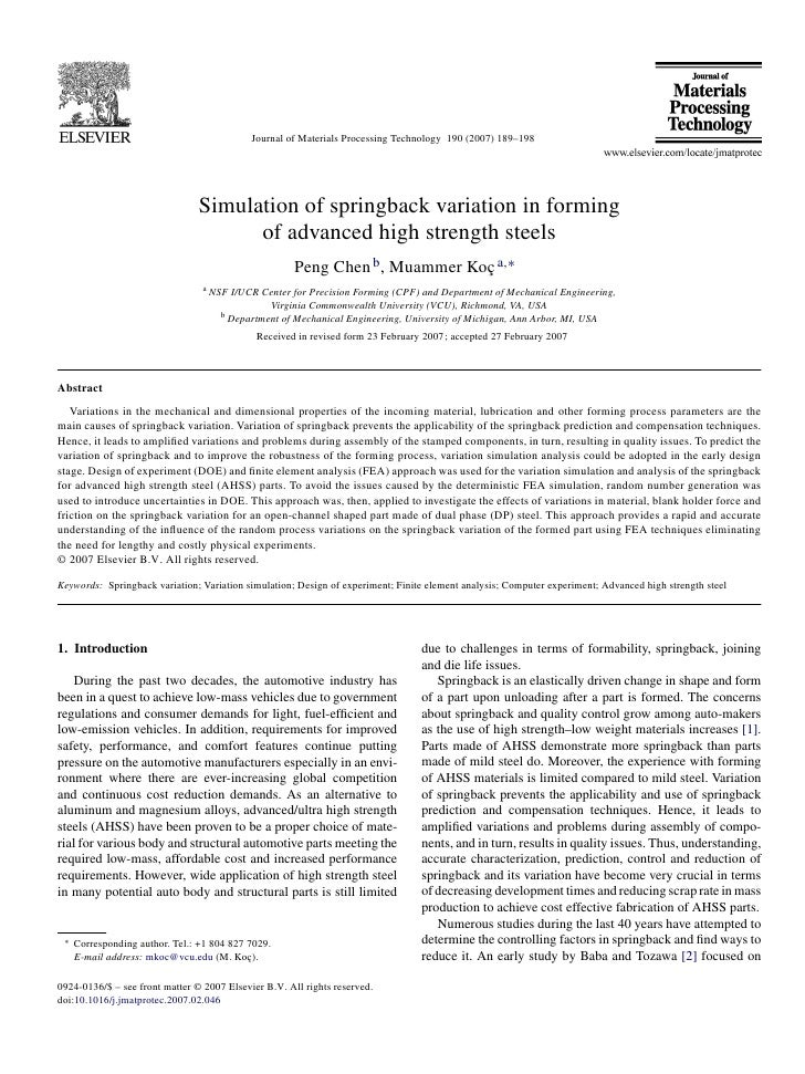 Journal of Materials Processing Technology 190 (2007) 189–198                                Simulation of springback vari...