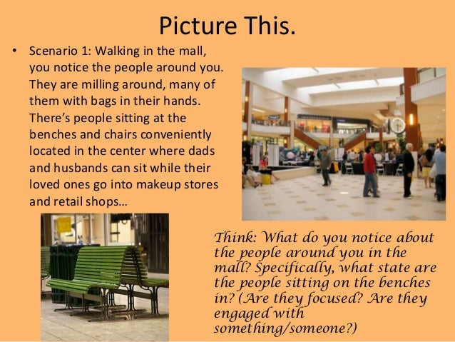 Picture This. • Scenario 1: Walking in the mall, you notice the people around you. They are milling around, many of them w...