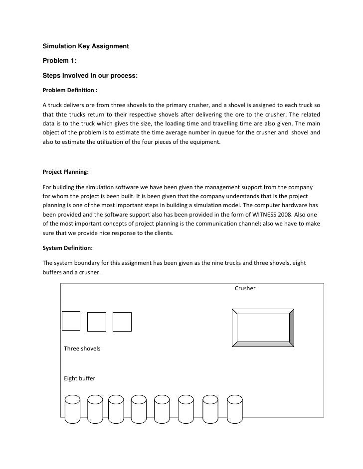 Simulation Key Assignment<br />Problem 1:<br />Steps Involved in our process:<br />Problem Definition :  <br />A truck del...