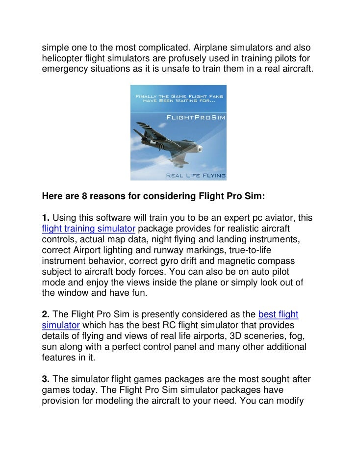 Simulator flight games