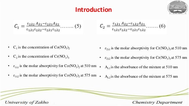 visible spectrophotometric analysis of cobalt and Page e-2 spectrophotometric analysis for copper: report form part b light absorption of colored solutions.