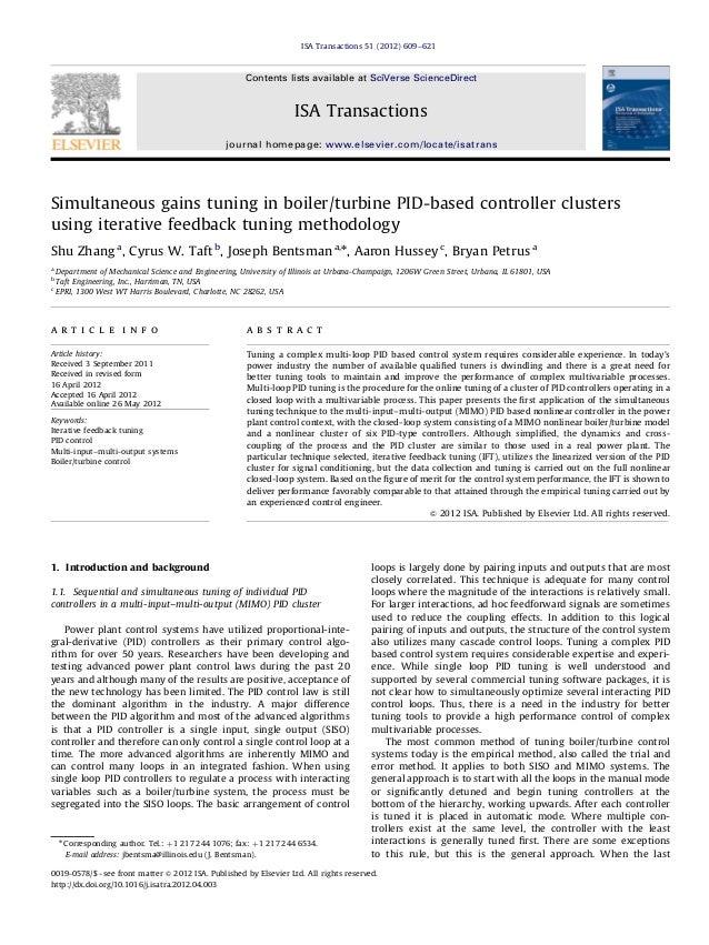 Simultaneous gains tuning in boiler/turbine PID-based controller clusters using iterative feedback tuning methodology Shu ...