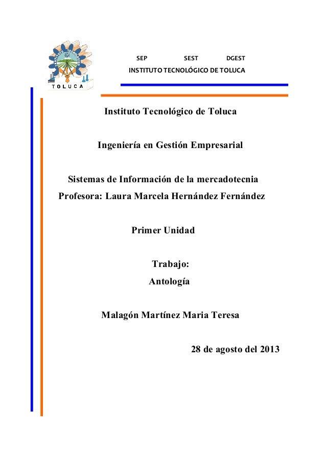 SEP  SEST  DGEST  INSTITUTO TECNOLÓGICO DE TOLUCA  Instituto Tecnológico de Toluca Ingeniería en Gestión Empresarial Siste...