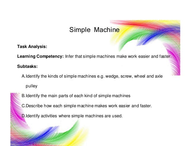 Simple Machine Task Analysis: Learning Competency: Infer that simple machines make work easier and faster. Subtasks: A.Ide...