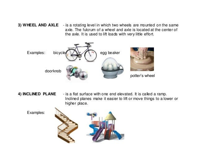 3) WHEEL AND AXLE - is a rotating level in which two wheels are mounted on the same axle. The fulcrum of a wheel and axle ...