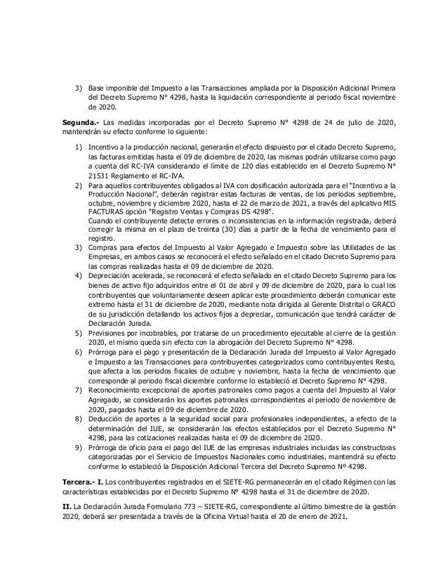 3) Base imponible del Impuesto a las Transacciones ampliada por la Disposición Adicional Primera del Decreto Supremo N° 42...