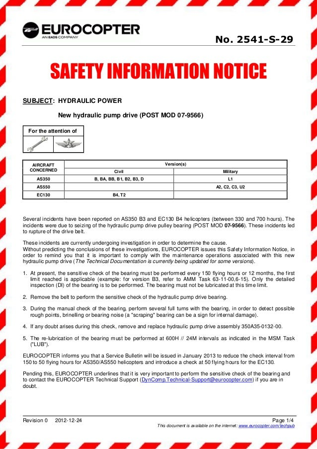 No. 2541-S-29              SAFETY INFORMATION NOTICESUBJECT: HYDRAULIC POWER               New hydraulic pump drive (POST ...