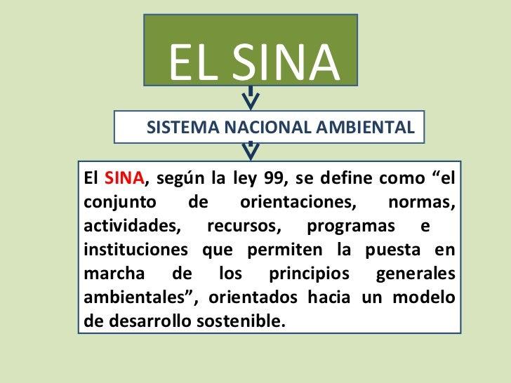 """EL SINA       SISTEMA NACIONAL AMBIENTALEl SINA, según la ley 99, se define como """"elconjunto     de    orientaciones,    n..."""