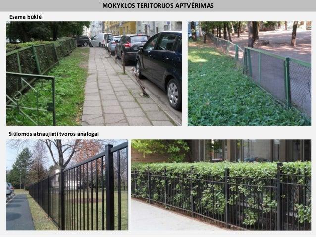 MOKYKLOS TERITORIJOS APTVĖRIMAS Esama būklė Siūlomos atnaujinti tvoros analogai