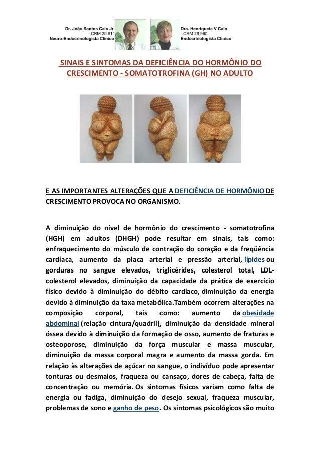 SINAIS E SINTOMAS DA DEFICIÊNCIA DO HORMÔNIO DO  CRESCIMENTO - SOMATOTROFINA (GH) NO ADULTO  E AS IMPORTANTES ALTERAÇÕES Q...
