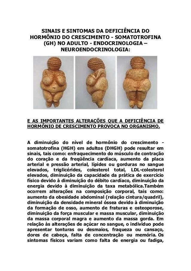 SINAIS E SINTOMAS DA DEFICIÊNCIA DO HORMÔNIO DO CRESCIMENTO - SOMATOTROFINA     (GH) NO ADULTO - ENDOCRINOLOGIA –         ...
