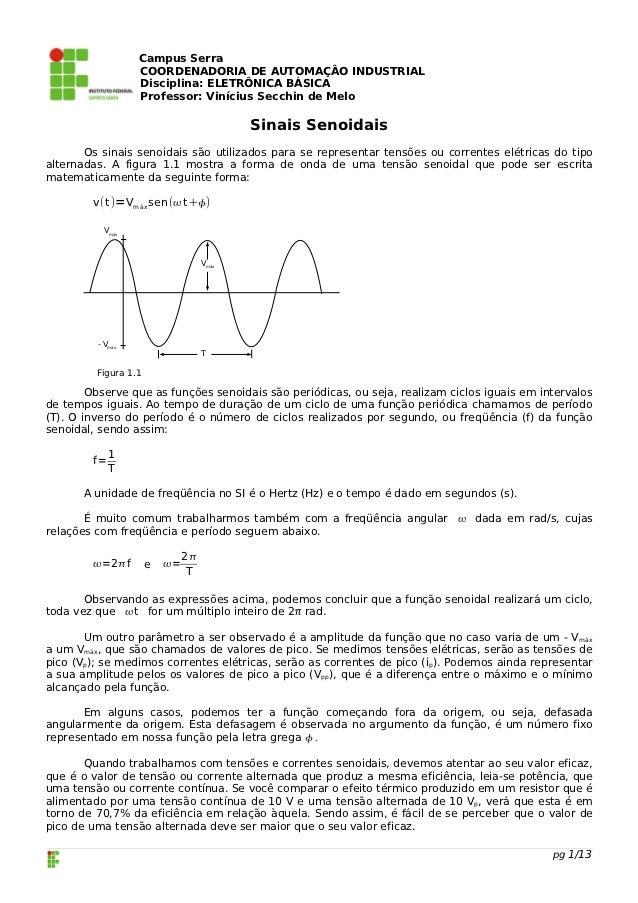 Campus Serra                  COORDENADORIA DE AUTOMAÇÂO INDUSTRIAL                  Disciplina: ELETRÔNICA BÁSICA        ...