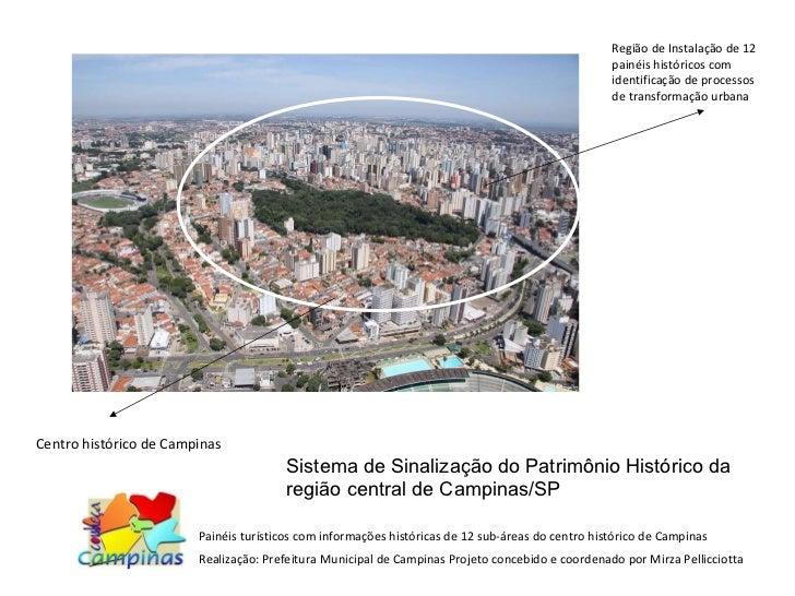 Centro histórico de Campinas Região de Instalação de 12 painéis históricos com identificação de processos de transformação...