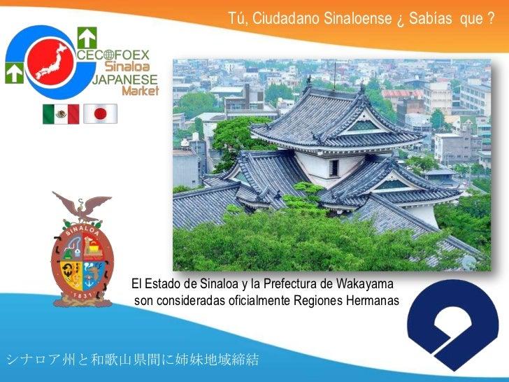 Tú, Ciudadano Sinaloense ¿ Sabías que ?        El Estado de Sinaloa y la Prefectura de Wakayama        son consideradas of...