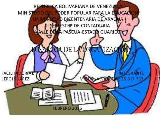 REPUBLICA BOLIVARIANA DE VENEZUELA MINISTERIO DEL PODER POPULAR PARA LA EDUCACION UNIVERSIDAD BICENTENARIA DE ARAGUA II SE...