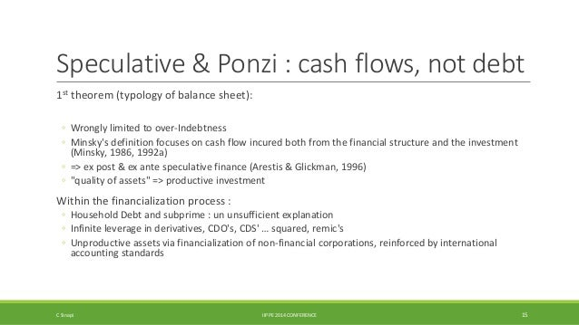 Speculative & Ponzi : cash flows, not debt  1st theorem (typology of balance sheet):  ◦ Wrongly limited to over-Indebtness...