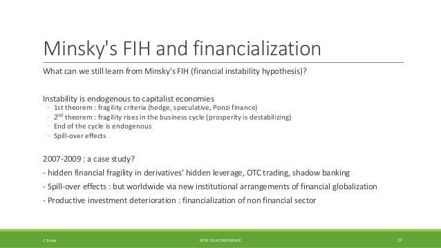 Minsky's FIH and financialization  What can we still learn from Minsky's FIH (financial instability hypothesis)?  Instabil...