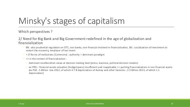 Minsky's stages of capitalism  Which perspectives ?  2/ Need for Big Bank and Big Government redefined in the age of globa...