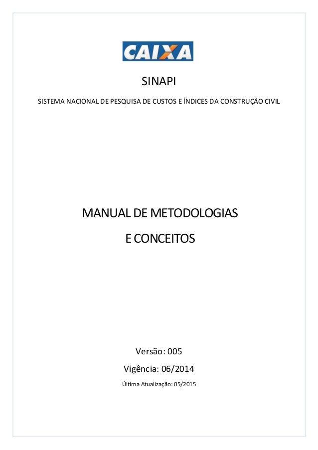 SINAPI SISTEMA NACIONAL DE PESQUISA DE CUSTOS E ÍNDICES DA CONSTRUÇÃO CIVIL Versão: 005 Vigência: 06/2014 Última Atualizaç...