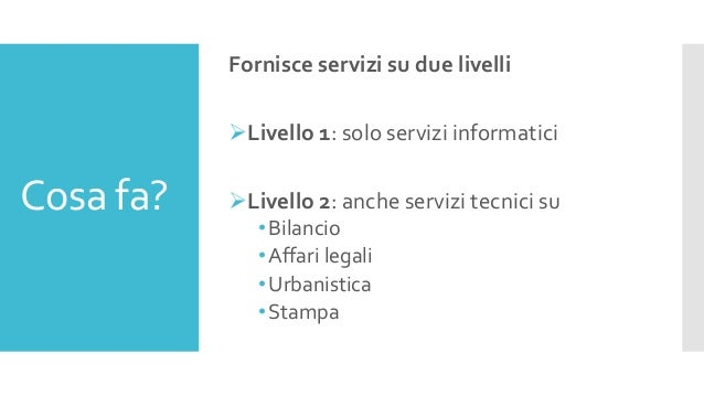 Cosa fa? Fornisce servizi su due livelli Livello 1: solo servizi informatici Livello 2: anche servizi tecnici su •Bilanc...