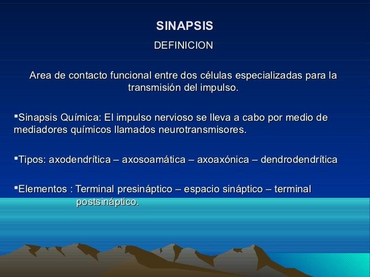 SINAPSIS                              DEFINICION   Area de contacto funcional entre dos células especializadas para la    ...