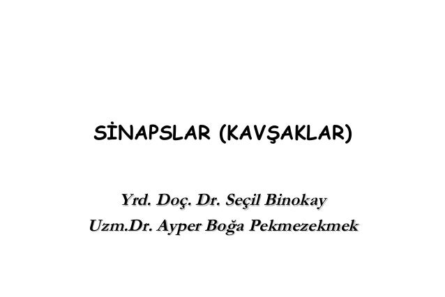 SİNAPSLAR (KAVŞAKLAR) Yrd. Doç. Dr. Seçil BinokayYrd. Doç. Dr. Seçil Binokay Uzm.Dr. Ayper Boğa PekmezekmekUzm.Dr. Ayper B...