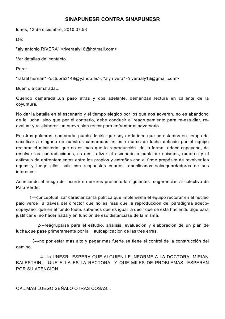 """SINAPUNESR CONTRA SINAPUNESRlunes, 13 de diciembre, 2010 07:58De:""""aly antonio RIVERA"""" <riveraaly16@hotmail.com>Ver detalle..."""