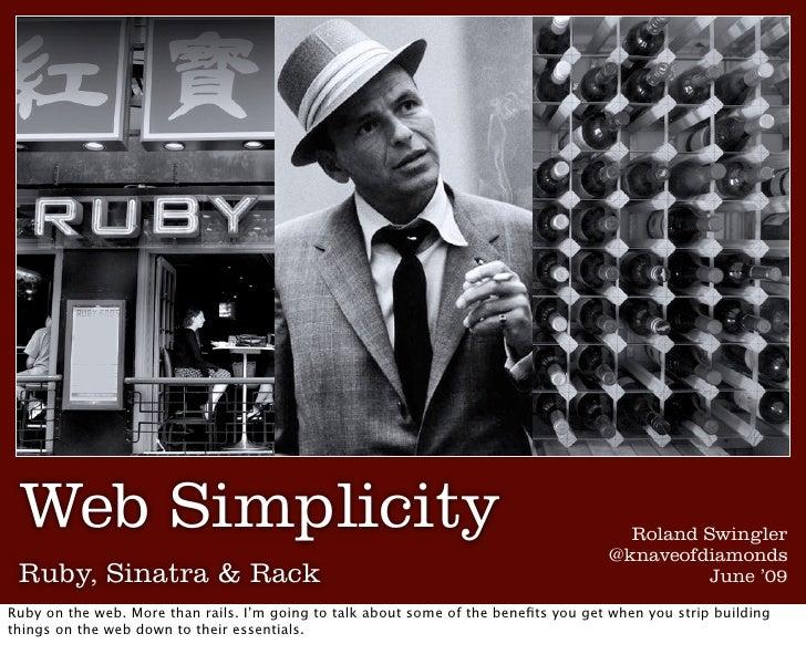 Web simplicity: Ruby, Sinatra & Rack
