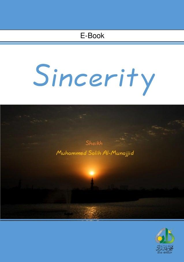 Sincerity Sheikh Muhammed Salih Al-Munajjid E-Book
