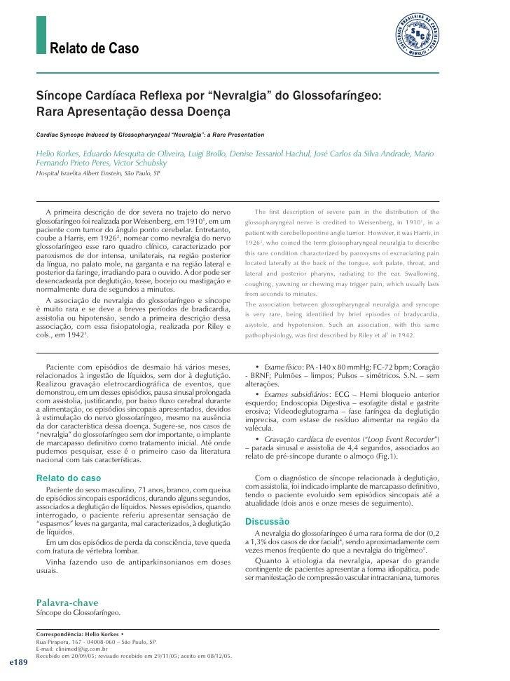 """Relato de Caso          Síncope Cardíaca Reflexa por """"Nevralgia"""" do Glossofaríngeo:        Rara Apresentação dessa Doença ..."""