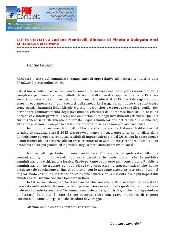 LETTERA INVIATA A Luciano Monticelli, Sindaco di Pineto e Delegato Ancial Demanio Marittimo*******************************...