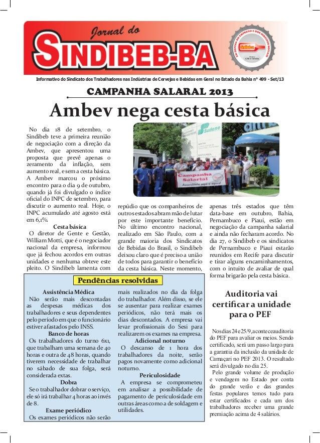 Informativo do Sindicato dos Trabalhadores nas Indústrias de Cervejas e Bebidas em Geral no Estado da Bahia n° 499 - Set/1...