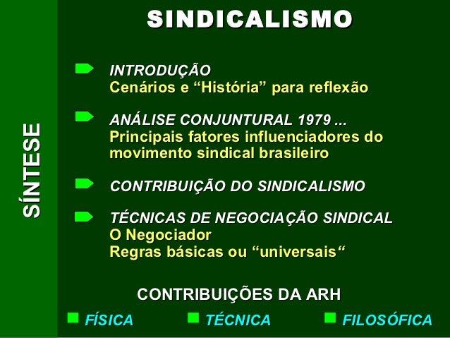 """SINDICALISMO            INTRODUÇÃO            Cenários e """"História"""" para reflexão            ANÁLISE CONJUNTURAL 1979 ...S..."""