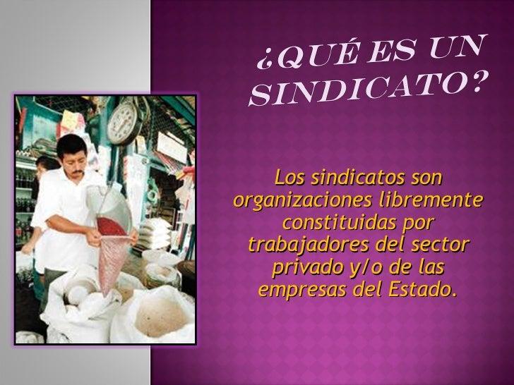 Los sindicatos son organizaciones libremente constituidas por trabajadores del sector privado y/o de las empresas del Esta...