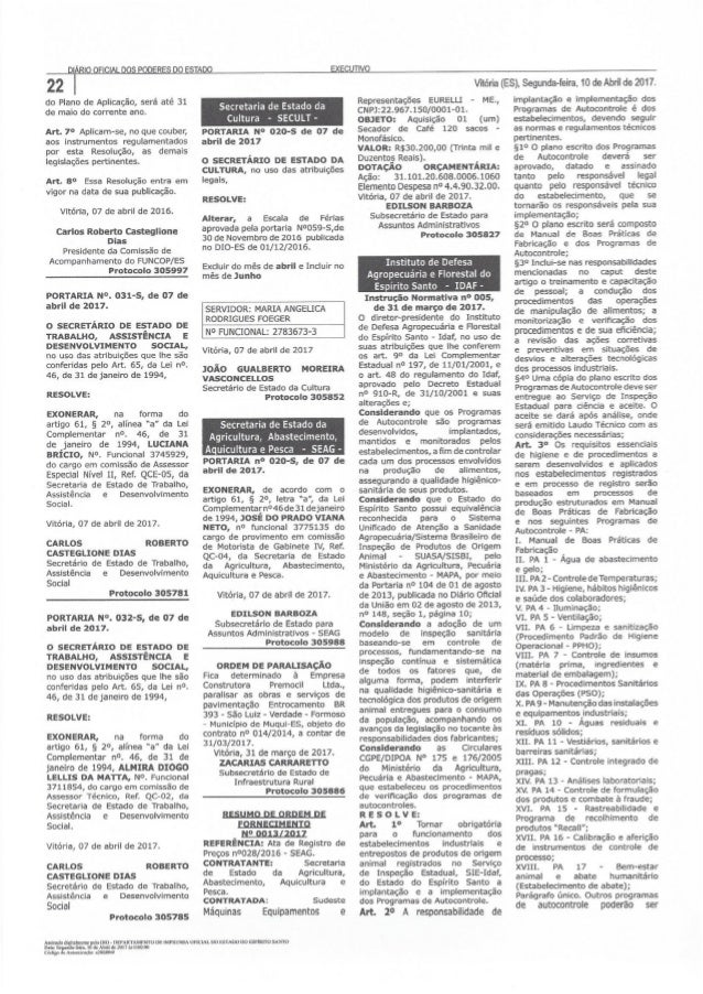 IN 005/2017 do IDAF Legislação