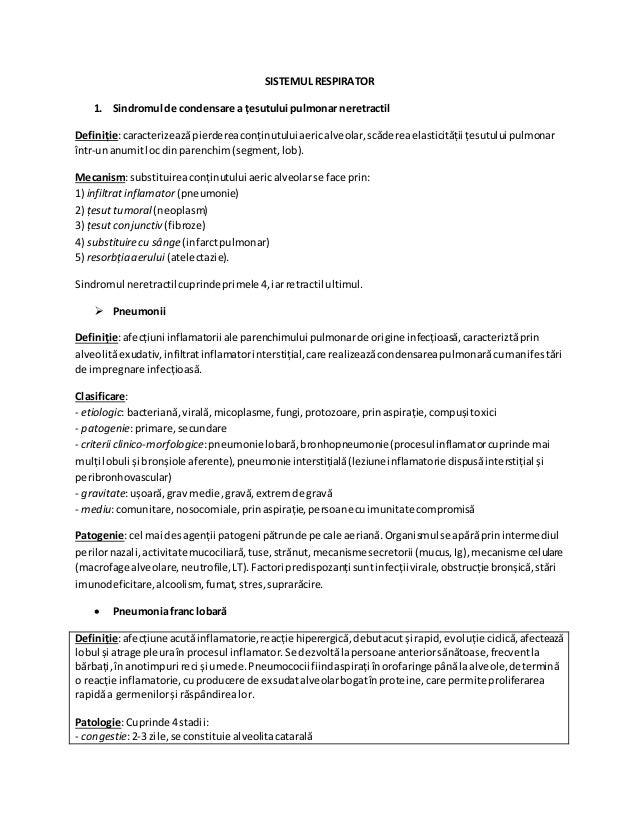 SISTEMUL RESPIRATOR 1. Sindromul de condensare a țesutului pulmonar neretractil Definiție:caracterizeazăpierdereaconținutu...