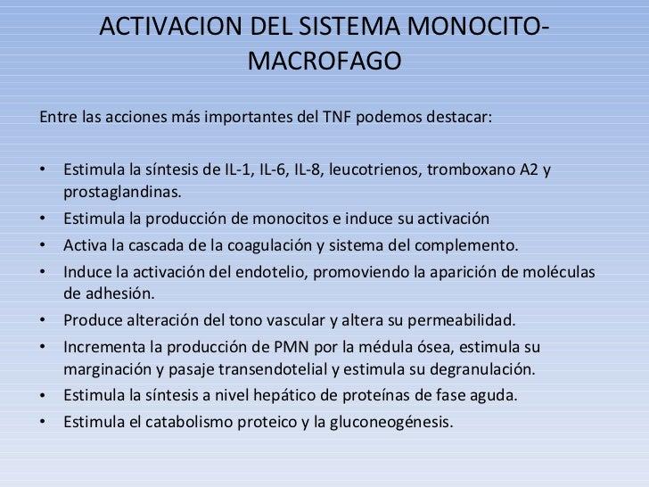ACTIVACION DEL SISTEMA MONOCITO-MACROFAGO <ul><li>Entre las acciones más importantes del TNF podemos destacar: </li></ul><...