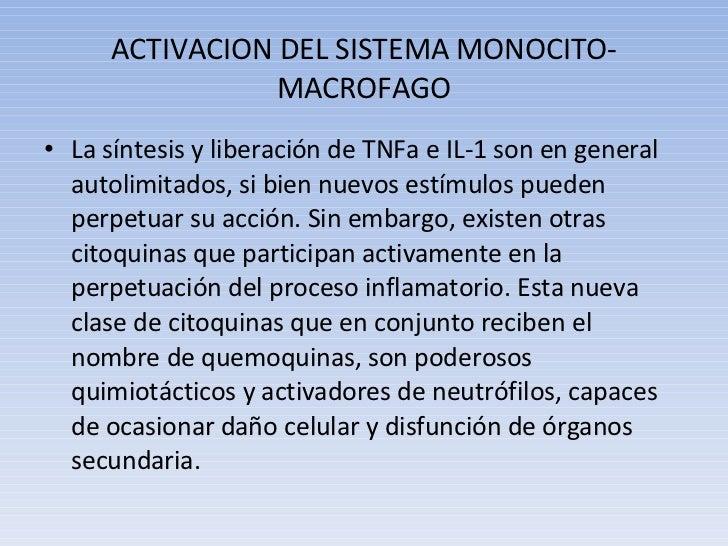 ACTIVACION DEL SISTEMA MONOCITO-MACROFAGO <ul><li>La síntesis y liberación de TNFa e IL-1 son en general autolimitados, si...