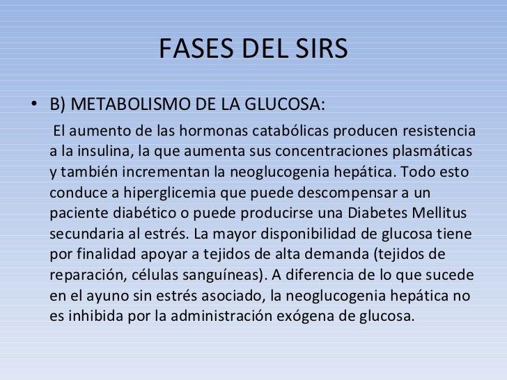 FASES DEL SIRS <ul><li>B) METABOLISMO DE LA GLUCOSA: </li></ul><ul><li>  El aumento de las hormonas catabólicas producen r...