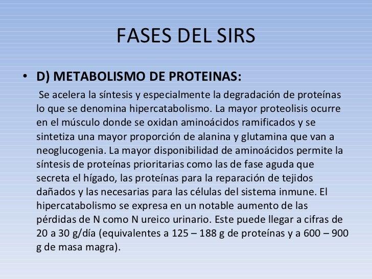 FASES DEL SIRS <ul><li>D) METABOLISMO DE PROTEINAS: </li></ul><ul><li>  Se acelera la síntesis y especialmente la degradac...
